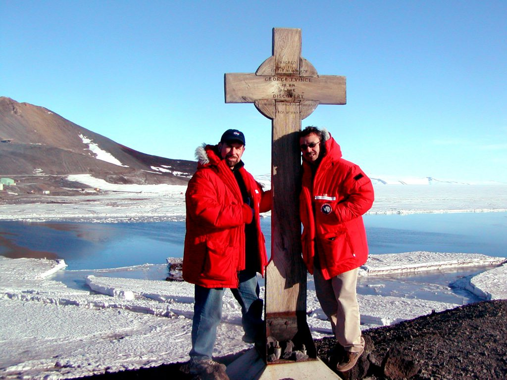 Mike and I at Discovery Station marker - McMurdo Antarctica